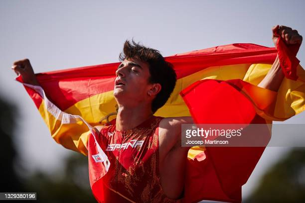 Pol Oriach of Spain reacts in the Men's 3000m Steeplechase Final during European Athletics U20 Championships Day 4 at Kadriorg Stadium on July 18,...