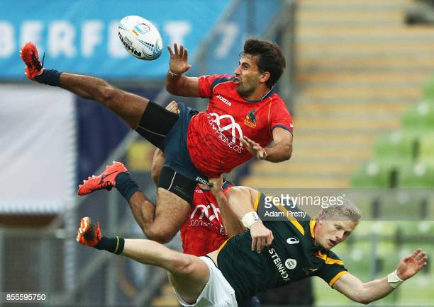 Pol Pla of Spain in action during the Rugby Oktoberfest 7's Pool A match between Spain and South Africa at Olympiastadion on September 29 2017 in...