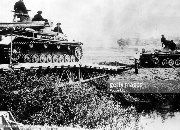 Poland 13th September German tanks drive over a bridge to cross the river during the Nazi invasion and occupation of Poland at the start of World War...