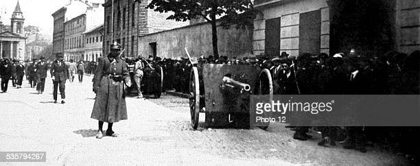 Poland 1926 In Warsaw marshal Pilsudski's coup Guns left in the streets after an assault