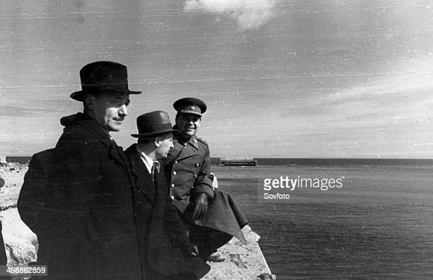 Poland April 1945 President of the National Council of Poland Boleslaw Bierut and Premier of the Polish Provisional Government Mr OsubkaMorawski with...