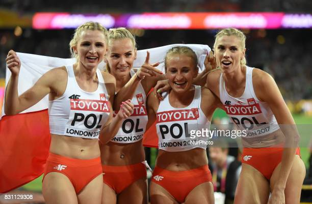 Poland celebrating bronze in 4 times 400 meter final in London at the 2017 IAAF World Championships athletics