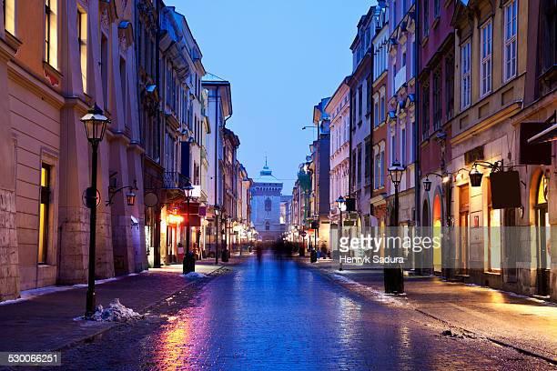 Poland, Cracow, Dusk view of Florianska Street