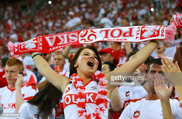 Poland fan enjoys the atmopshere ahead of the UEFA EURO 2012 group A match between Czech Republic and Poland at The Municipal Stadium on June 16 2012...