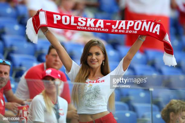 Poland fan enjoys the pre match atmosphere prior to the 2018 FIFA World Cup Russia group H match between Japan and Poland at Volgograd Arena on June...