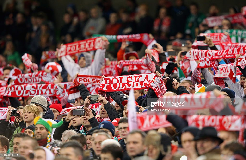 Poland fans show their support during the International Friendly match between Republic of Ireland and Poland at Aviva Stadium on February 6, 2013 in Dublin, Ireland.
