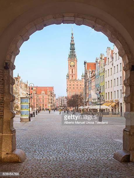 Poland, Gdansk, Dluga street and Town Hall