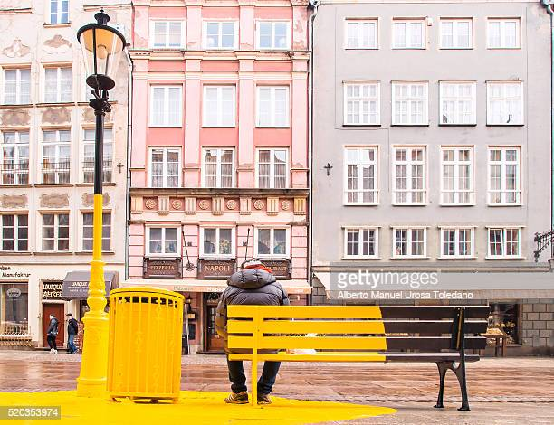 Poland, Gdansk, Dluga street and yellow spot