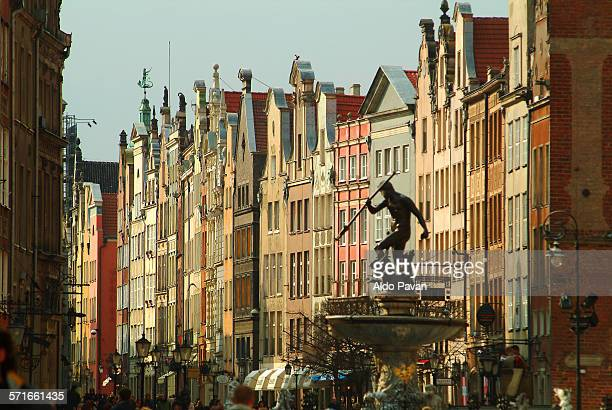 poland, gdansk, facades in dluga street - gdansk stock pictures, royalty-free photos & images