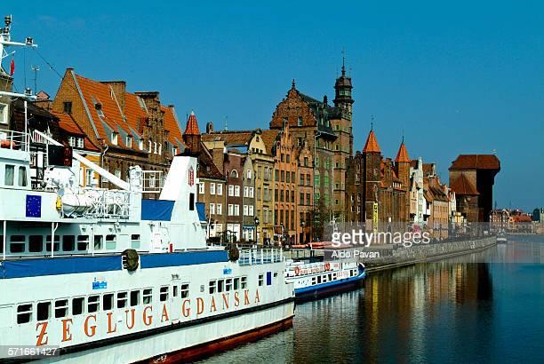 poland, gdansk, river bank motlawa - motlawa river stock pictures, royalty-free photos & images