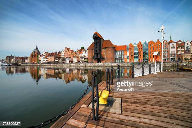 poland, gdansk, view to skyline with crane gate - gdansk stock pictures, royalty-free photos & images