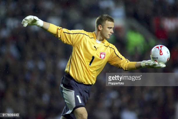 Poland goalkeeper Artur Boruc in action during the FIFA World Cup Group 6 qualifying match between England and Poland at Old Trafford in Manchester...