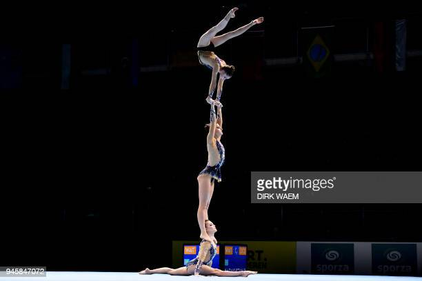 Poland group Emilia Plewnia Magda Rajtor and Marta Srutwa perform on the first day of the 26th edition of the World Championships Acrobatic...