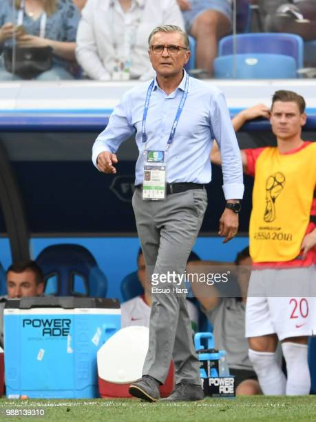 Poland head coach Adam Nawalka gestures during the 2018 FIFA World Cup Russia group H match between Japan and Poland at Volgograd Arena on June 28...