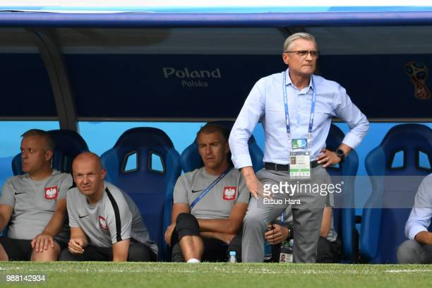 Poland head coach Adam Nawalka looks on during the 2018 FIFA World Cup Russia group H match between Japan and Poland at Volgograd Arena on June 28...