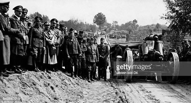 2WW Poland Hitler visiting German Wehrmacht forces Hitler visiting troops near Jaroslaw from left Wilhelm List Hitler Wilhelm Keitel Alexander Loehr...