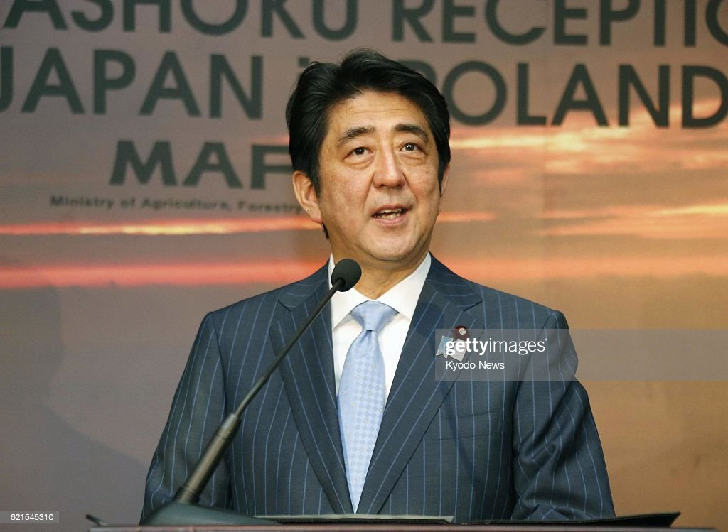 WARSAW, Poland - Japanese Prime Minister Shinzo Abe speaks at a reception to introduce Japanese food culture in Warsaw, Poland, on June 15, 2013.