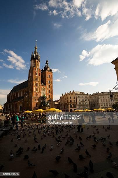Poland, Krakow, Market Square , St. Mary's Basilica In Background.