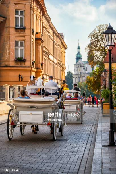 Poland, Krakow, Old town, carriages