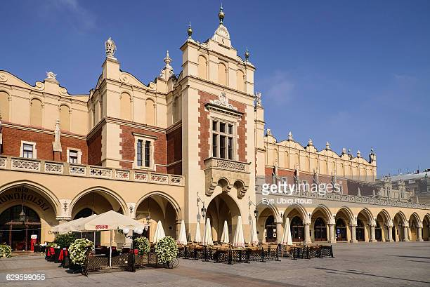 Poland Krakow Rynek Glowny or Main Market Square A section of the facade of the Sukiennice or The Cloth Hall