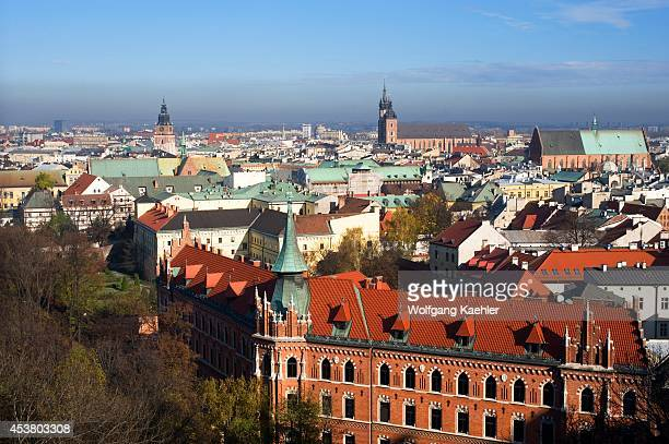 Poland, Krakow, Wawel Castle, View From Cathedral Tower Of Town.