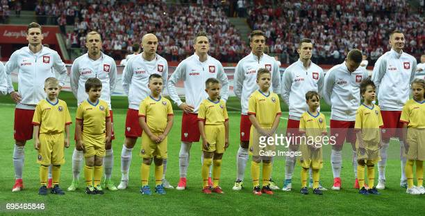 Poland line up during the 2018 FIFA World Cup Russia eliminations match between Poland and Romania on June 10 2017 at the National Stadium in Warsaw...