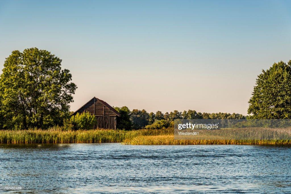 Poland, Masuria, Barn at Lake Sniardwy : Stock Photo
