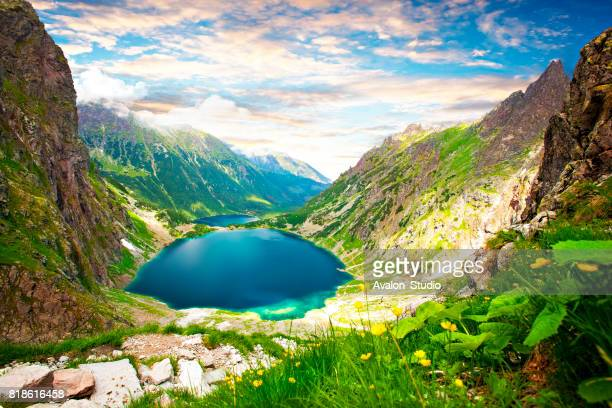 poland mountain marine eye and black pond - zakopane stock pictures, royalty-free photos & images