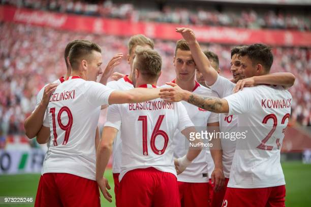 Poland national football team during the international friendly soccer match between Poland and Lithuania at the PGE National Stadium in Warsaw...