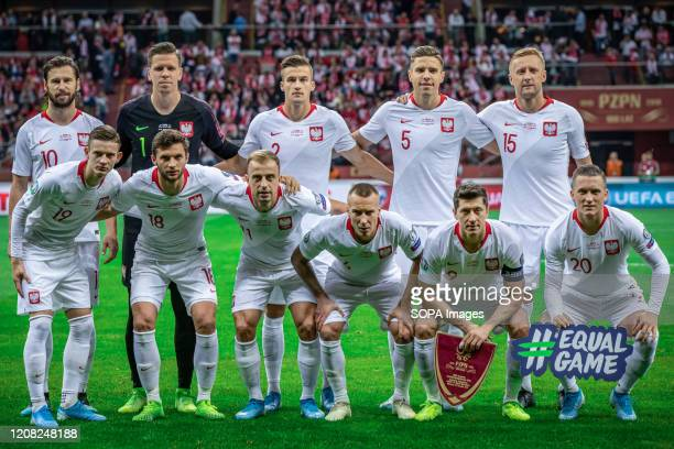 Poland national football team pose for a photo before the UEFA EURO 2020 Qualifiers match between Poland and North Macedonia at PGE Narodowy Stadium....