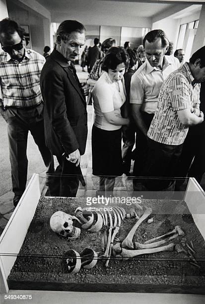 Poland, Posnan, museum, human skeleton in prehistoric grave.
