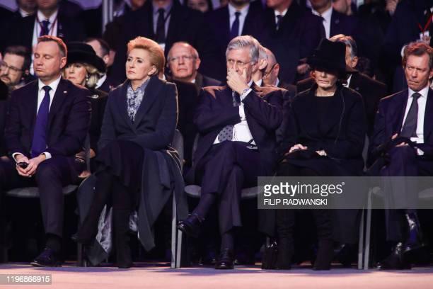 Poland President Andrzej Duda and his wife Agata KornhauserDuda King Philippe Filip of Belgium Queen Mathilde of Belgium and Grand Duke Henri of...