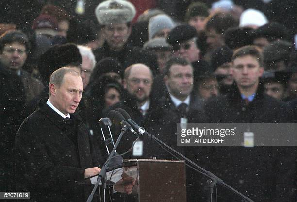 Russian President Vladimir Putin holds a speech 27 January 2005 at the former nazi death camp Birkenau the ceremonies marking the 60th anniversary of...