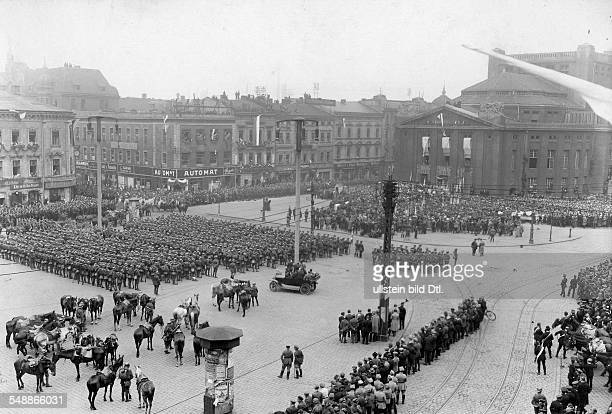 Poland Slask Katowice Parade of Polish troops at the theatre square Photographer Frankl Published by 'Berliner Illustrirte Zeitung' 27/1922 Vintage...