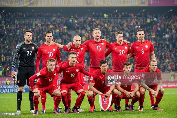 Poland team before the begining of the World Cup qualifying campaign 2018 game between Romania and Poland at National Arena Stadium Bucharest Romania...