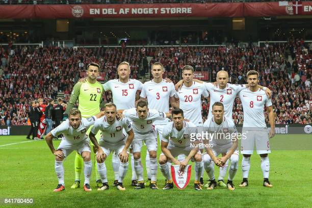 Poland team before the FIFA 2018 World Cup Qualifier between Denmark and Poland at Parken Stadion on September 1 2017 in Copenhagen