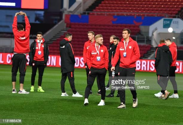 Poland U21 players inspect the pitch before the game England U21 v Poland U21 - International Friendly - Ashton Gate .