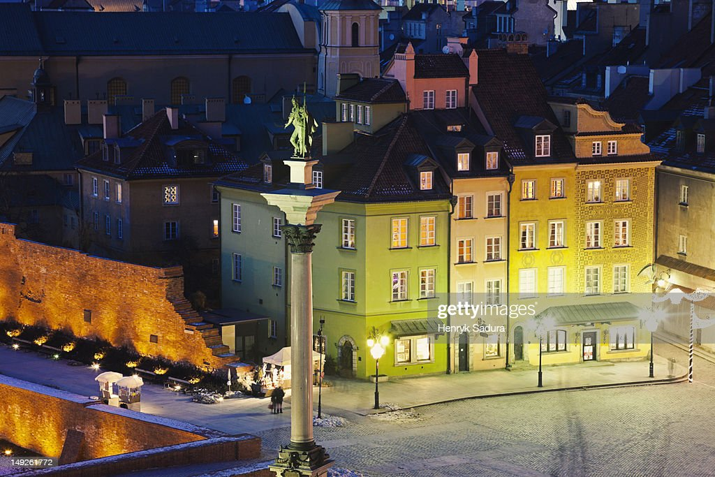 Poland, Warsaw, Castle Square, Sigismund's Column at night : Stock Photo