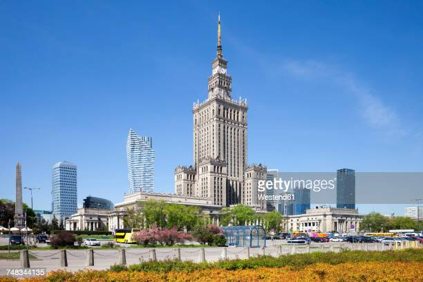 Poland, Warsaw, downtown skyline with Palace of Culture and Science