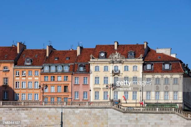 Poland, Warsaw, historic townhouses, apartment buildings along Krakowskie Przedmiescie street