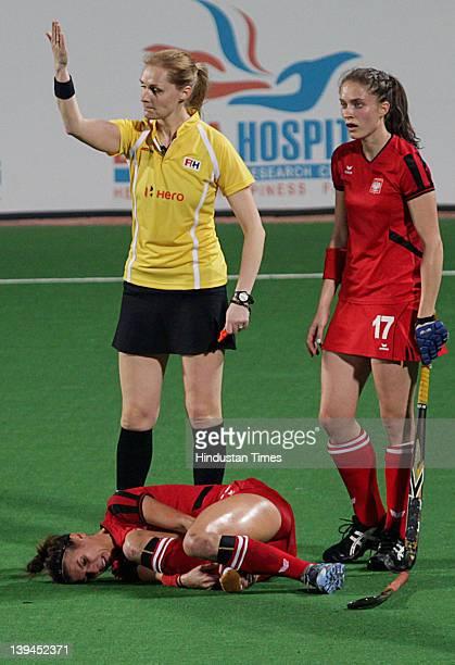 Poland Women Hockey team player Natalia Wisniewska got injured during a match between India and Poland in FIH London 2012 Olympic Hockey Qualifying...