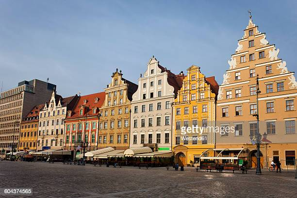 Poland, Wroclaw, Old Town, old tenement houses with gables