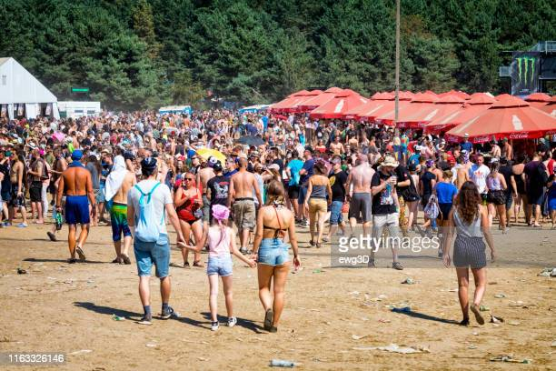 pol'and'rock festival 2018, poland - festival goer stock pictures, royalty-free photos & images