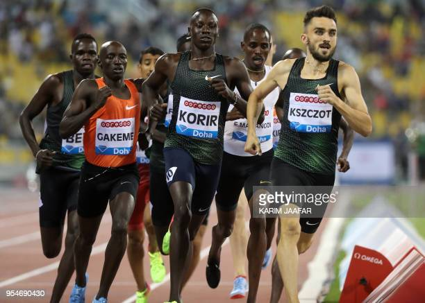 Poland's Adam Kszczot leads the men's 800 metres during the Diamond League athletics competition at the Suhaim bin Hamad Stadium in Doha, on May 4...
