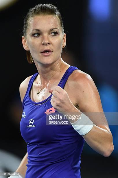 Poland's Agnieszka Radwanska reacts after a point against Bulgaria's Tsvetana Pironkova during their women's singles match on day two of the...