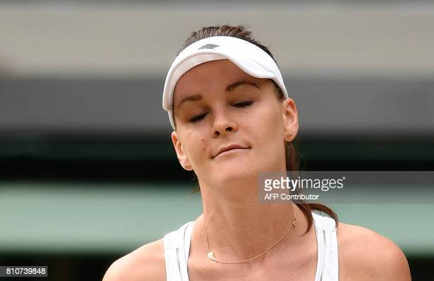 Poland's Agnieszka Radwanska reacts after a point against Switzerland's Timea Bacsinszky during their women's singles third round match on the sixth...