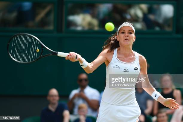Poland's Agnieszka Radwanska returns against Switzerland's Timea Bacsinszky during their women's singles third round match on the sixth day of the...