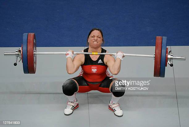 Poland's Aleksandra Klejnowska lifts weights during the women's 58-kilogram weightlifting finals at the 90th Men and 24th Women European Senior...