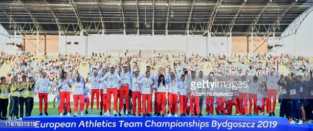 Poland's athletics team celebrate victory in European Athletics Team Championships Super League Bydgoszcz 2019 - Day Three at Zawisza Stadium on...