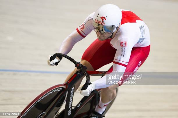 Poland's Bartosz Rudyk competes in the 200-metres time trial sprint qualification at the European Track Cycling Championships at the Omnisportcentrum...